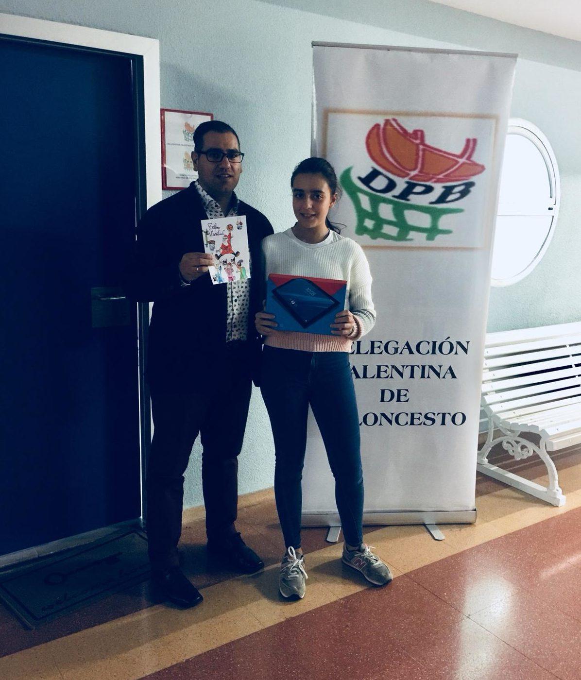 Ganadora del primer premio del Concurso de postales navideñas de la delegación palentina de baloncesto