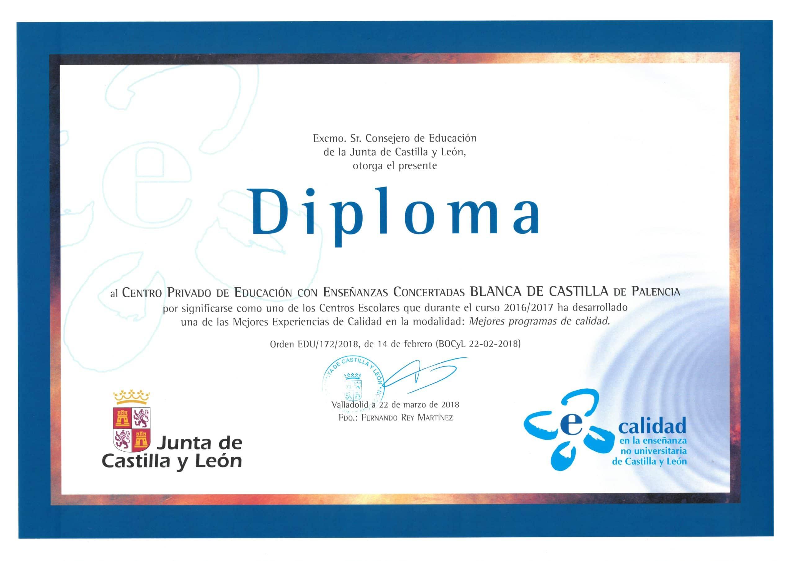 Reconocimiento mejores experiencias de calidad Colegio Filipense Blanca de Castilla de Palencia