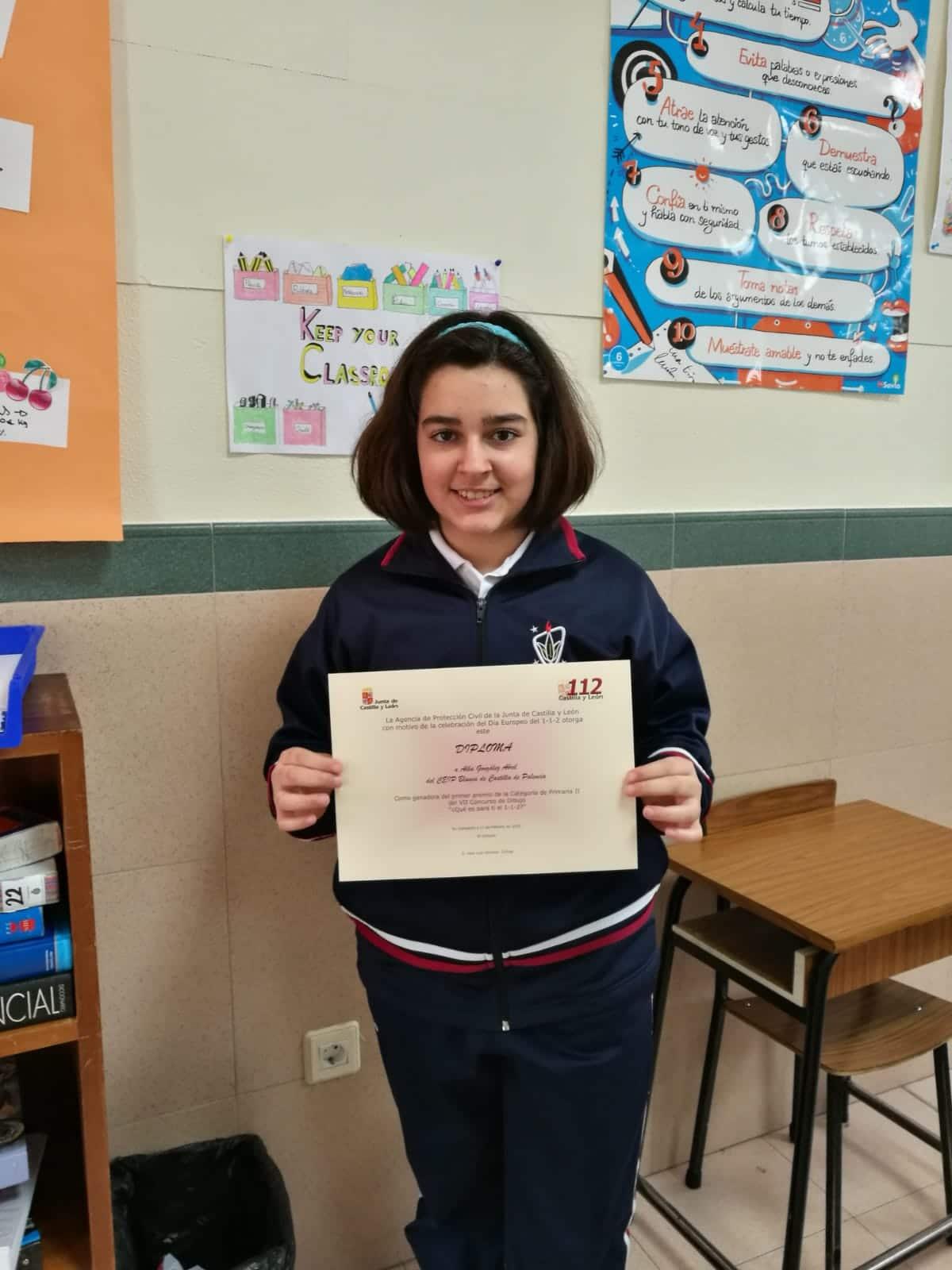 """Primer premio de Alba González en concurso""""¿Qué es para ti el 1-1-2?'"""