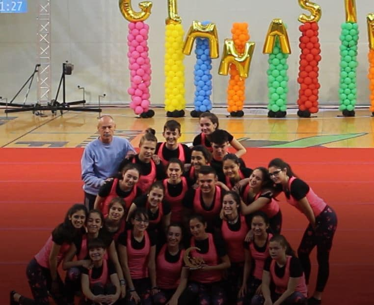 Grupo de Acrosport del Colegio Blanca de Castilla en la 23 GIMNASTRADA EXTREMADURA