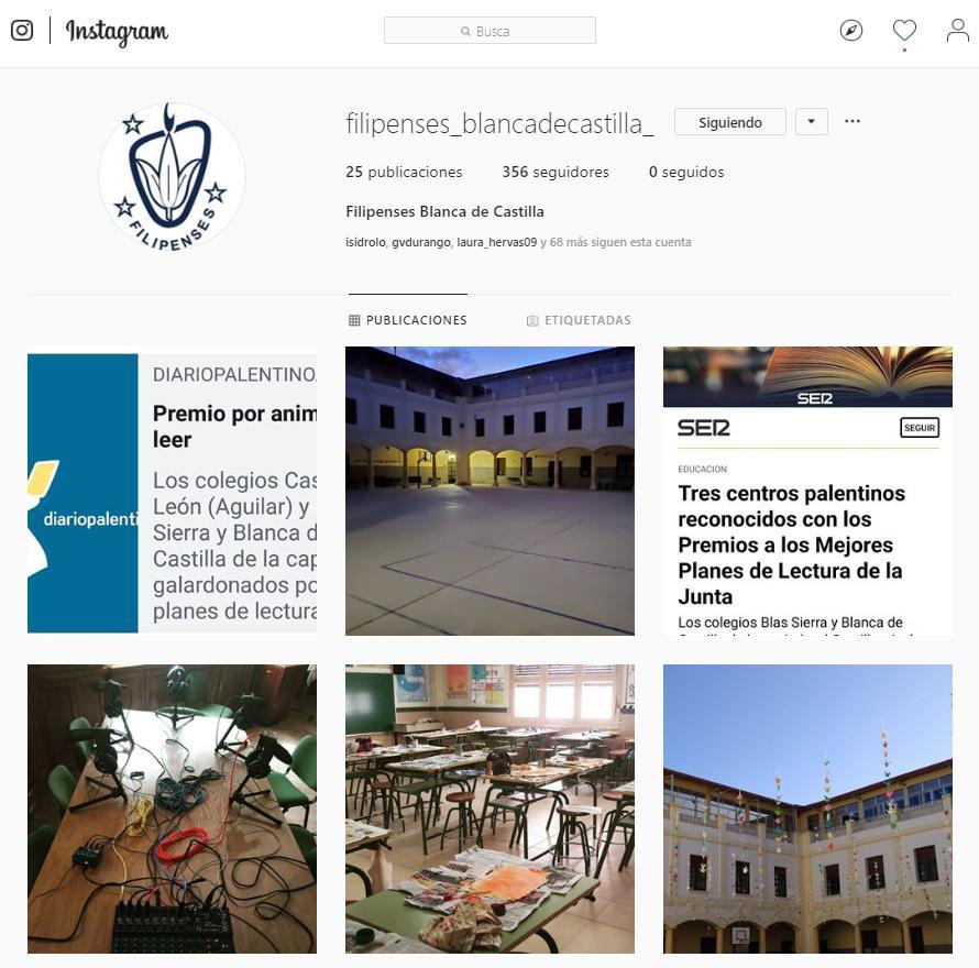 Instagram del Colegio Filipense Blanca de Castilla de Palencia