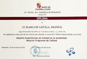 """Reconocimiento a nuestra Experiencia de Mejora del curso 2017-18 en la modalidad """"Mejores Programas de Calidad"""" en los premios de educación 2019 de la Junta de Castilla y León"""