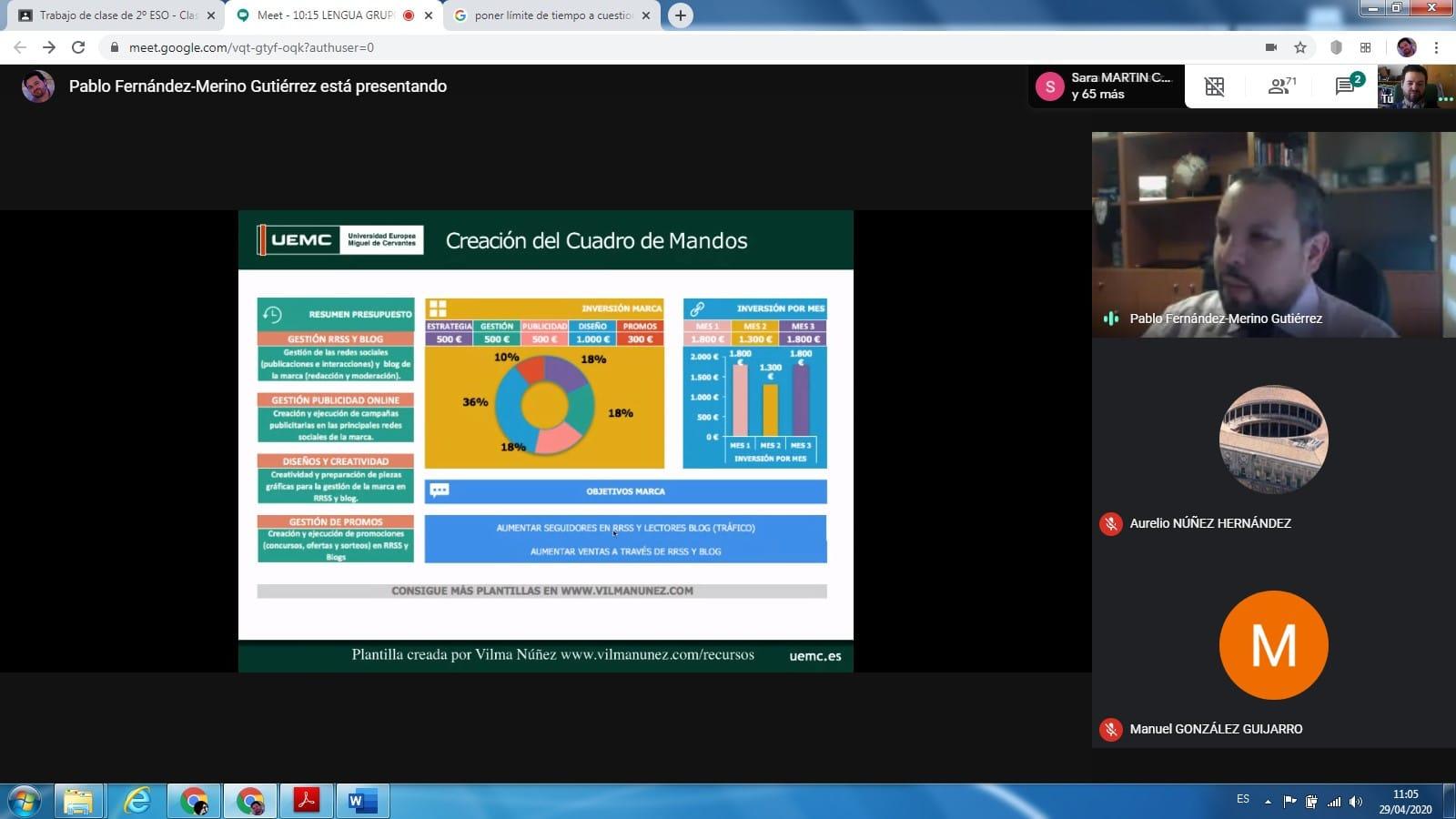 Visita virtual de un experto en publicidad a los alumnos de 2º ESO