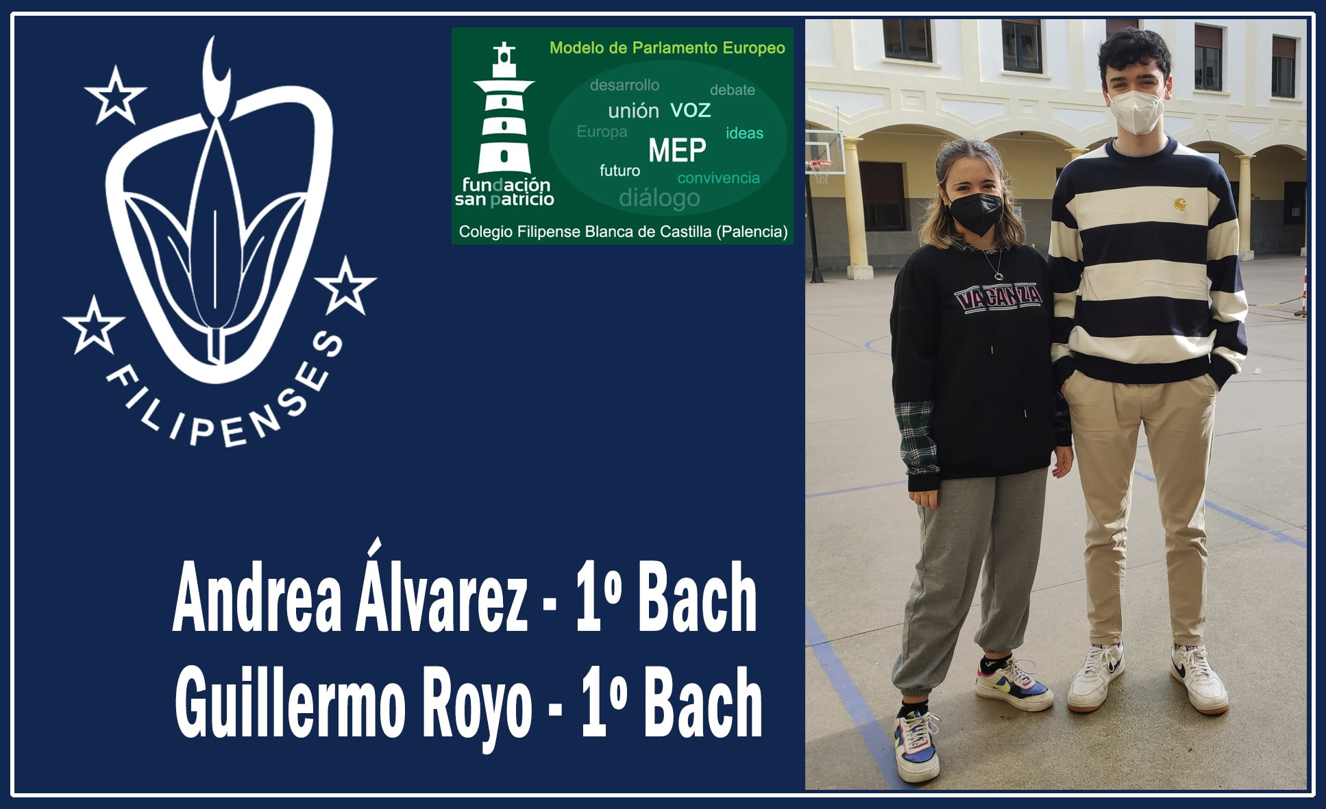 Andrea Álvarez y Guillermo Royo del Colegio Blanca de Castilla de Palencia seleccionados para la fase nacional del Modelo de Parlamento Europeo.