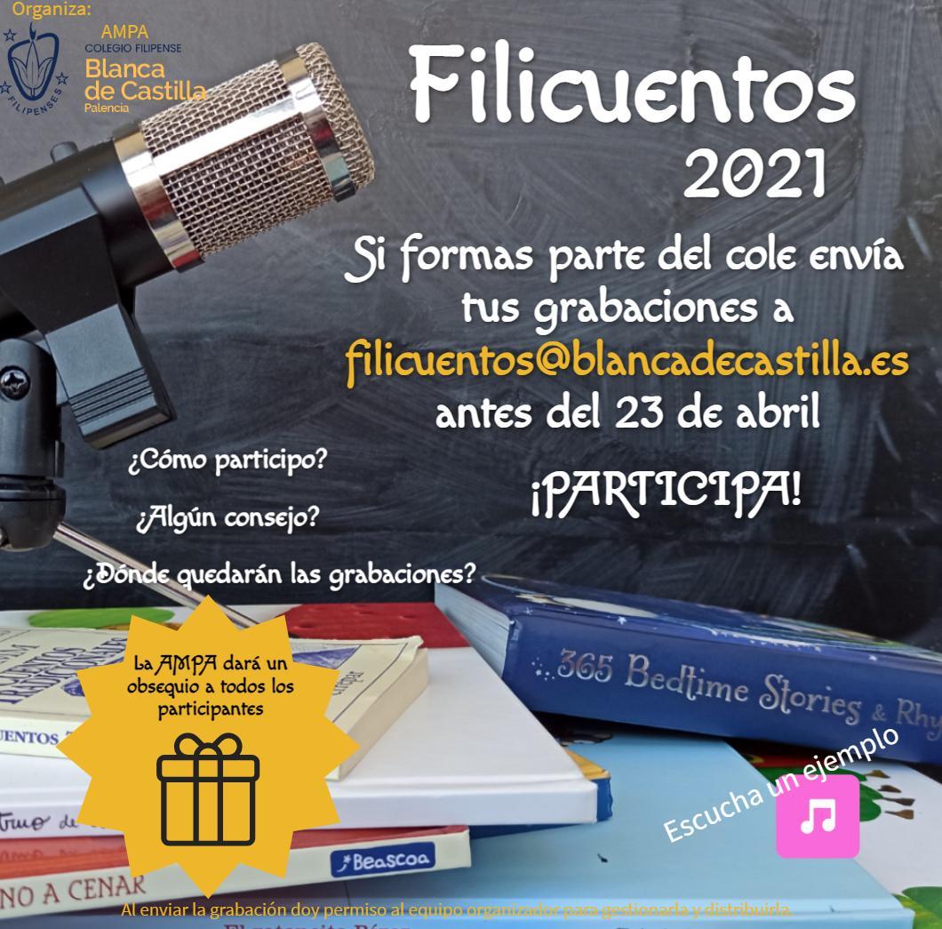 Filicuentos 2021 en familia filipense del Colegio Blanca de Castilla de Palencia organizado por el AMPA