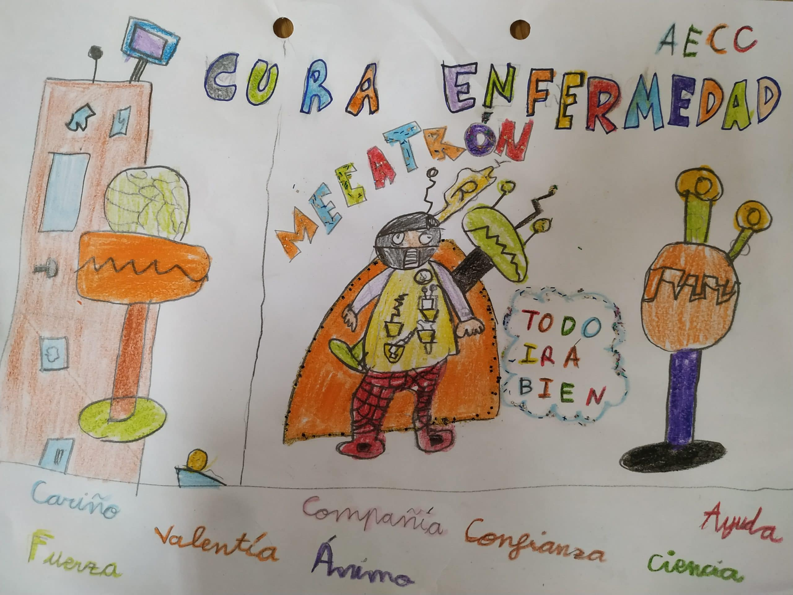 Tercer premio en el Concurso de dibujo Día Mundial del Cancer de un alumno del Colegio Blanca de Castilla de Palencia.