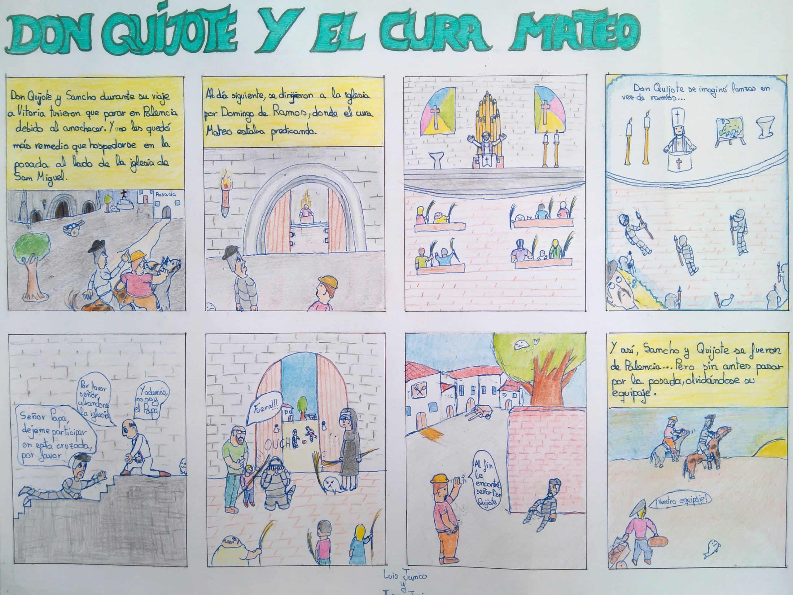 Los alumnos de 3º de la ESO del Colegio Blanca de Castilla de Palencia relatan nuevas aventuras de Don Quijote de la Mancha en formato de comic.