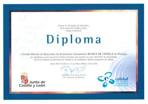 """Reconocimiento a nuestra Experiencia de Mejora del curso 2016-17 en la modalidad """"Mejores Programas de Calidad"""" en los premios de educación 2018 de la Junta de Castilla y León"""